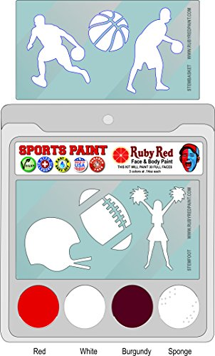 Ruby Red Paint Face Paint, 2ML X 3 Colors - College Sports Paint (Stanford) ()