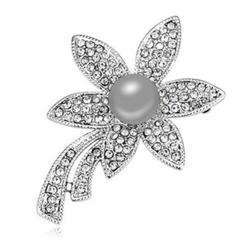 Mondaynoon-Womens-Swarovski-Elements-Austrian-freshwater-cultured-wedding-Pearl-Broochflower-Shape