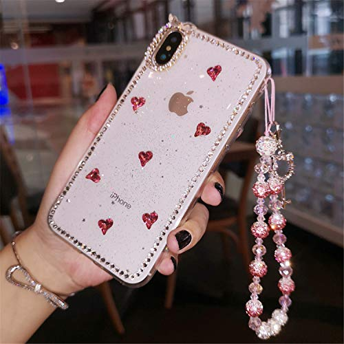 (Phone Case Compatible with iPhone Xs Max 6.5 Inch, GIZEE Bling Glitter Unique 3D Handmade Crystal Sparkly Diamond Rhinestone Cute Bow Heart Shiny Back Case with Bead Handstrap Girls Women (Clear))