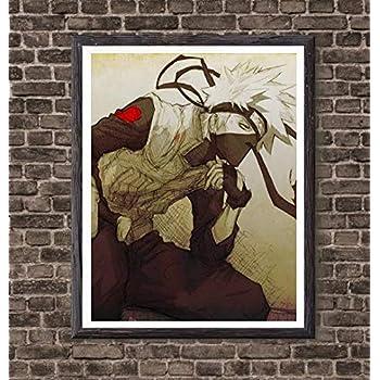 Thunder of Ninja Kakashi Naruto Canvas Art Print for Bedroom Decoration,8 x 10 Inches,No Frame
