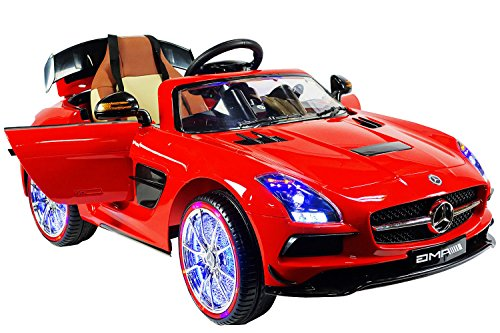 mercedes sls amg premium ride on electric toy car for kids 12v battery powered led lights mp3 rc parental remote controller leather seat