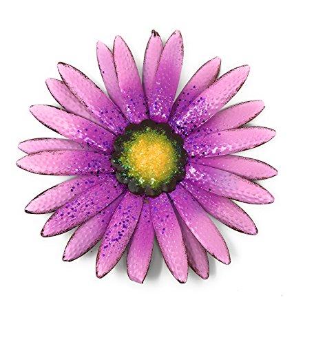 Metal Wall Art Decor Nature Inspired Flower Sculptures For Indoor Outdoor (Purple)