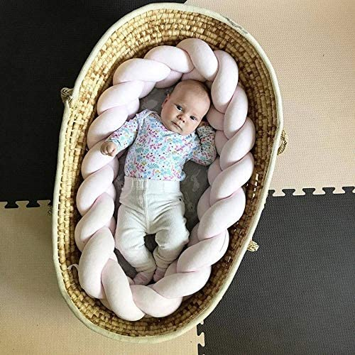 Battilo Baby Crib Bumper Knotted Braided Plush Nursery Cradle Decor Newborn Gift Pillow Cushion Junior Bed Sleep Bumper White, 39 Inch