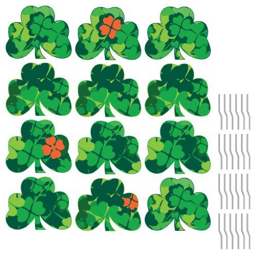 Shamrock Pathway Markers (12 Full Color) - St. Patrick's Day Yard Decorations w/ 24 short stakes (Banner Stakes)