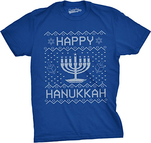 Crazy Dog TShirts - Mens Happy Hanukkah Tshirt Funny Jewish Menorah Ugly Sweater Tee For Men - herren -