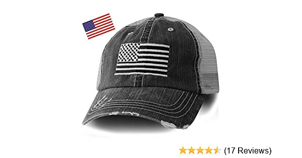 011f35999ecd3 Amazon.com  Honor Country American Flag Distressed Black Trucker Cap- Free  Flag Sticker  Clothing