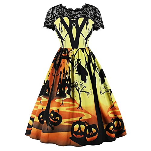 EbuyChX Halloween Pumpkin Lantern Lace Panel Vintage Dress Black S -