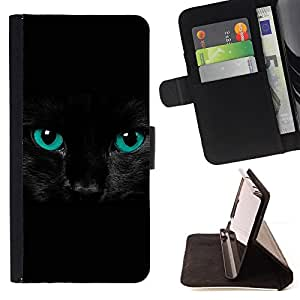 For Samsung GALAXY Note 5/N9200 Black Feline Cat Eyes Intense Blue Pet Style PU Leather Case Wallet Flip Stand Flap Closure Cover