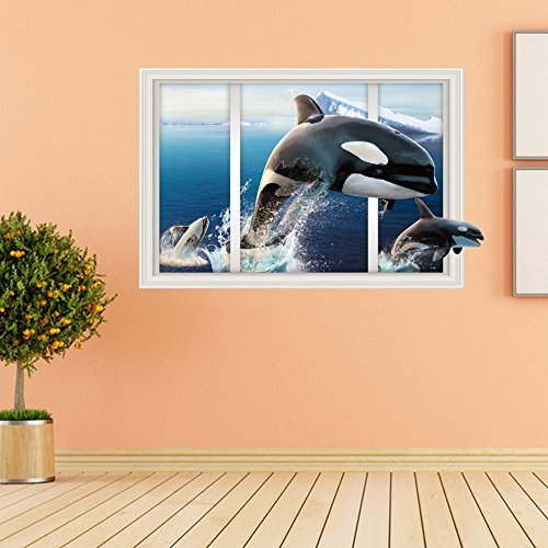 (Large Blue Sky 3D Self-adhesive Removable Break Through the Wall Vinyl Wall Sticker/Mural Art Decals Decorator (Flying Dolphin YY1224 ( 60 x 90cm)))