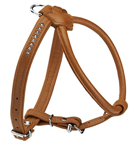 (Hunter Round and Soft Elk Leather Petit Dog Harness with Crystals, 50 cm, Cognac )
