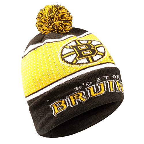 Forever Collectibles NHL Boston Bruins Big Logo Knit Light Up Beanie Hat (Boston Bruins Pom Beanie)