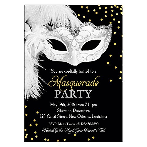 amazon com masquerade invitation printable or printed any wording