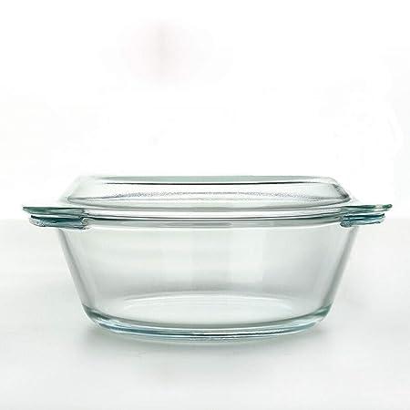Cuenco de cristal transparente resistente al calor con tapa de ...
