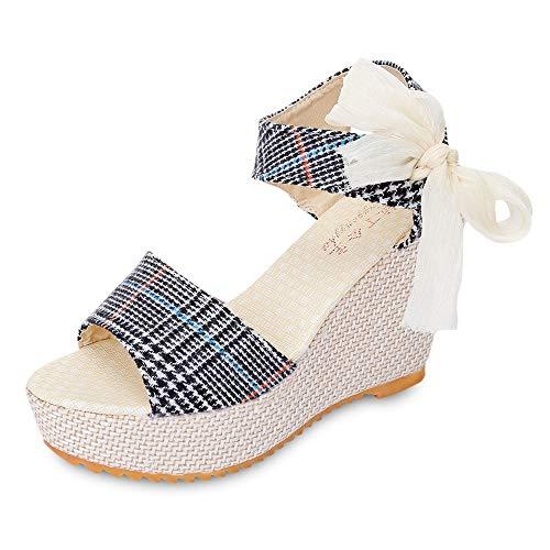 - KCatsy Trendy Open Toe Ankle Strap Women Wedge Heel Sandals Black