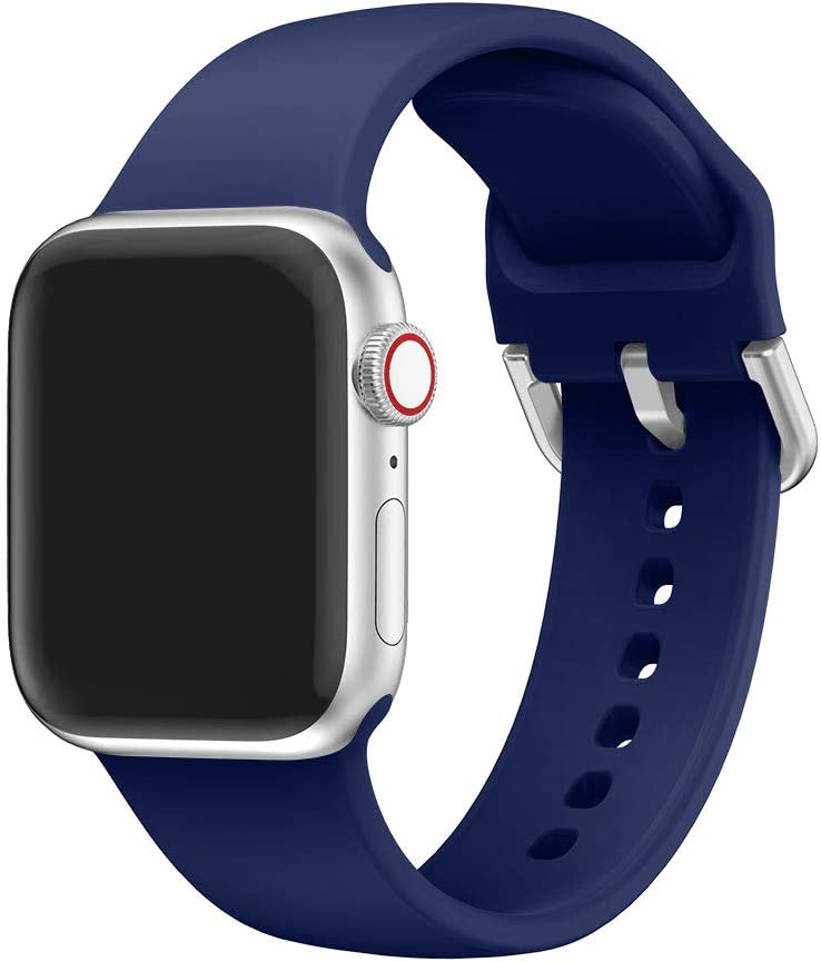 EOOZON Silicone Strap Compatible with Apple Watch Band 38/40mm 42/44mm Soft Silicone Sport Band Replacement Wrist Strap Compatible with iWatch Series 4/3/2/1 (Midnight Blue, 38mm/40mm)