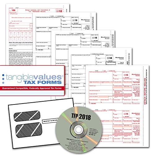 Tangible Values 1099 Misc Laser Forms (4-Part) Kit with Envelopes PLUS TFP SOFTWARE for 50 Individuals/Suppliers (2018)