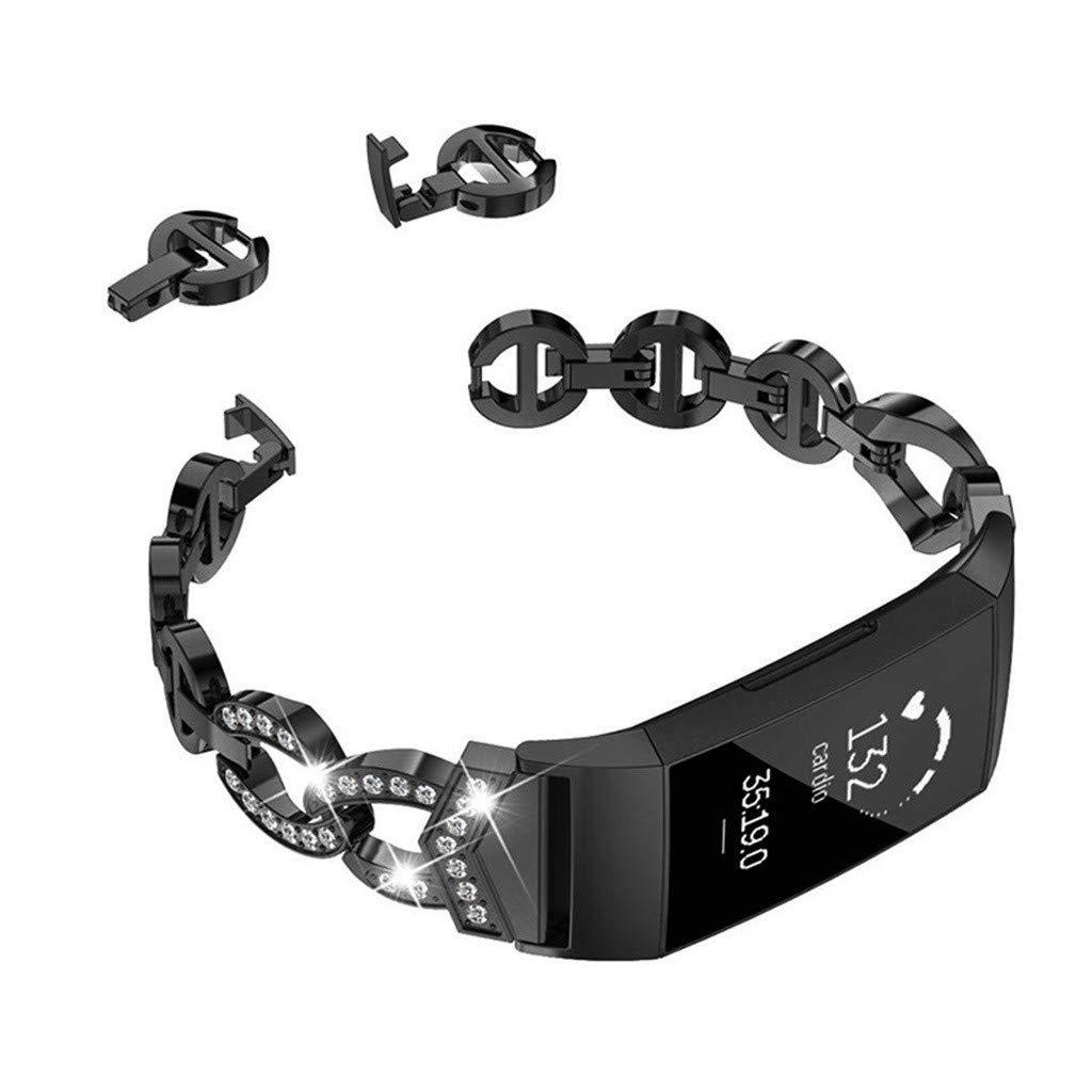 Fitbit Charge 3 Bracelet M/étal YUYOUG Remplacement de Bande de Courroie de Bracelet en m/étal dacier Inoxydable de Girl Bling pour Fitbit Charge 3 Hommes Femmes