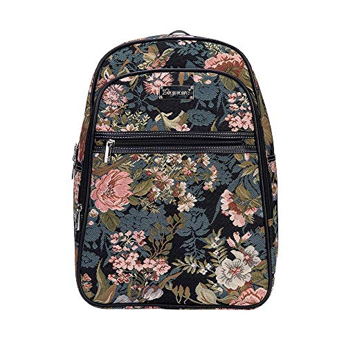 ede6832fa19b Signare Tapestry Navy & Pink Stylish Rucksack Backpack Book Bag with Front  Pocket in Peony Floral (BKPK-PEO)