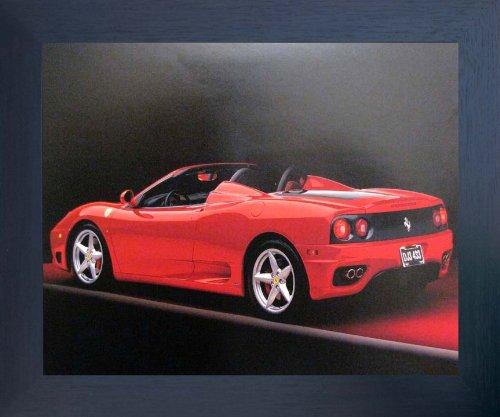 Red Ferrari 360 Modena Spider Sports Car Espresso Framed Art Print Picture (20x24) -