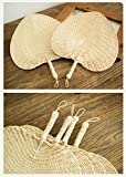 12 Natural Raffia Fans, Whole leaf, Perfect for Summer Come With Butterfly Embroidery Pendant, Exquisite Handicraft 1pc