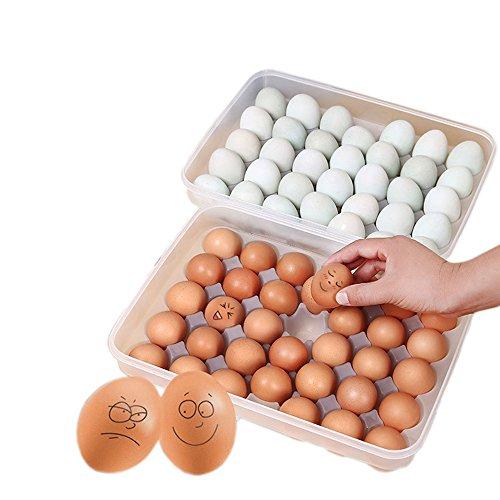 34huevos soporte caja de almacenamiento contenedor de Picnic Cocina Refrigerador fresh-keeping–transparente