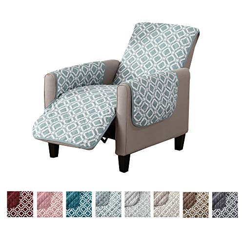 Reversible Recliner Cover. Printed Recliner Chair Covers for Living Room with Secure Straps. Protect from Kids, Dogs and Pets. (26