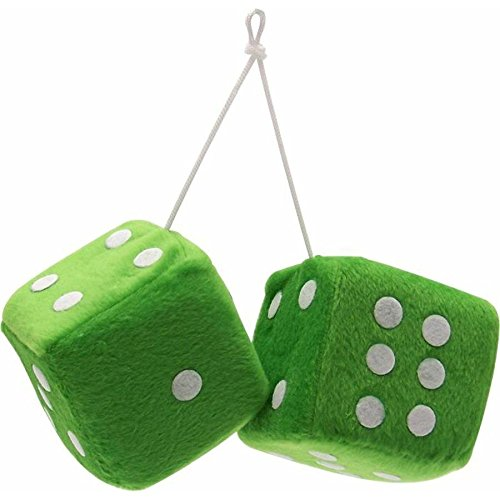 "Vintage Parts 14558 3"" Green Fuzzy Dice with White Dots - Pair"