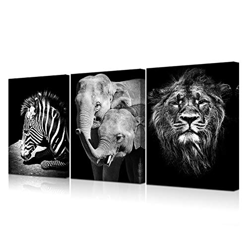 Art Deco Elephant (VVOVV Wall Decor Black and White Animal Canvas Wall Art Elephant Zebra Lion Painting The Picture Printed On Canvas Framed and Stretched Home Wall Decoration Small Size 12