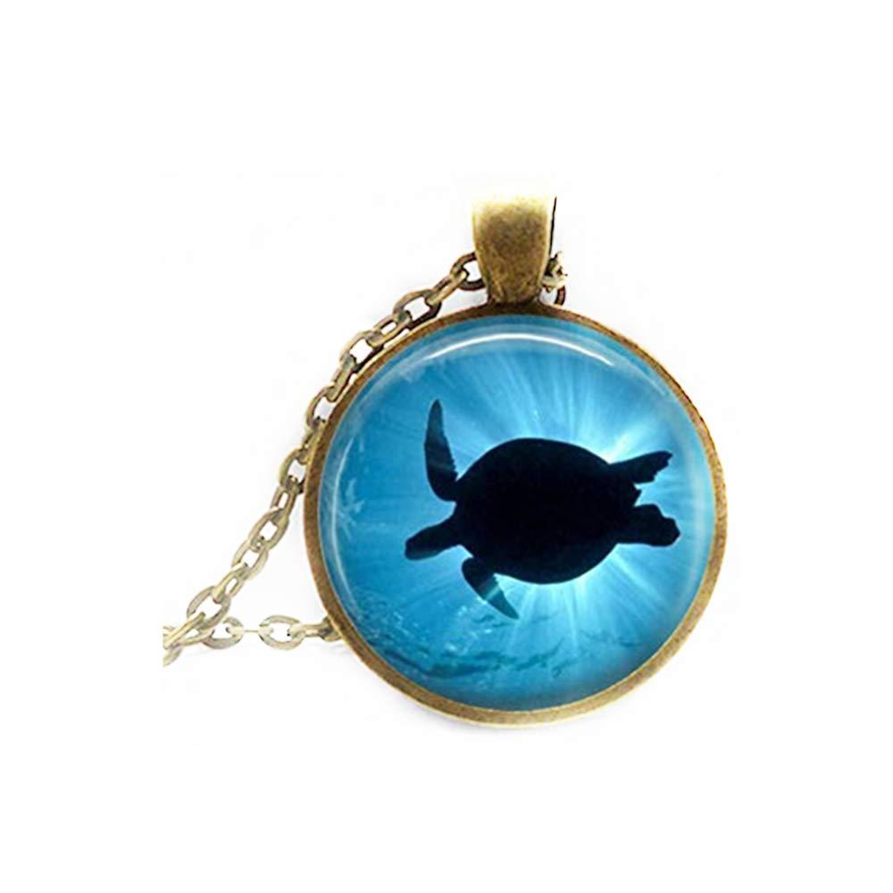 Elf House Sea Turtle Necklace Ocean Beach Jewelry Marine Life Art Pendant