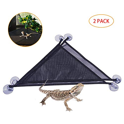 Flying Spoon 2 Packs Reptile Hammock Breathable Nylon Mesh Crawler Hammock Pet Hammock Lizard Swing Mesh Mat ()