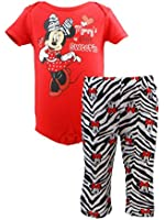 """Disney Baby Girls Minnie Mouse """"Mommy's Little Sweetie"""" 2 piece Onesie Pant Set"""