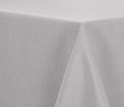 Leinen Optik Tischdecke, FARBE wählbar, bügelfrei Lotuseffekt Wasser- und Schmutzabweisend, Eckig 130x260 Silber