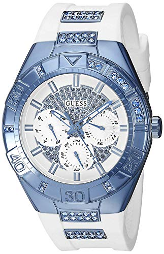 Guess White Dial Watch - GUESS Women's U0653L2 Sporty White Silicone Watch with Sky Blue Accents and Multi-Function Dial