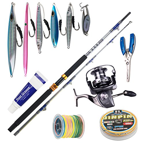 Himenlens A23 Deep Sea Boat Fishing Big Fish Rod and Reel Combos with 1.4-7.1oz Jigs Jigging and Line Troll Combo Max 440Lbs