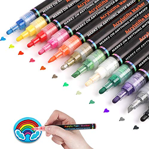Paint Markers,Set of 12 Colors Permanent Water Based Paint Pen for Rocks Painting, Ceramic, Glass, Wood, Fabric, Canvas, Mugs,Photo Album, DIY Craft, Scrapbooking Craft (Tip 3-5mm)