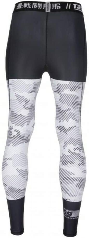 MMA BJJ Grappling Fitness Sports Leggings Spats No Gi for Men with 4-Way Stretch White//Black Tatami Compression Spats Essential Camo