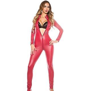 0138c8ec6b HSTV Women s Latex Catsuit Fetish Erotic Halloween Costumes Bodysuit Faux  Leather Nightclubs Pole Dance Jumpsuit