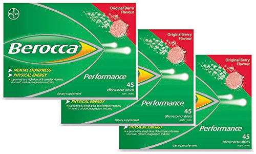 Berocca Performance - 135 (3 x 45 Tablets) Effervescent Tablets - BERRY Flavor - Long Expiry Date - Genuine, Factory Sealed