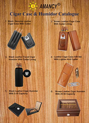 AMANCY Top Quality 3- Finger Brown Leather Cigar Case, Cedar Wood Lined Cigar Humidor with Silver Stainless Steel Cutter by AMANCY (Image #6)