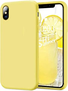 KUMEEK iPhone X/Xs Case, Soft Silicone Gel Rubber Bumper Case Anti-Scratch Microfiber Lining Hard Shell Shockproof Full-Body Protective Case Cover for iPhone X/iPhone Xs-Yellow