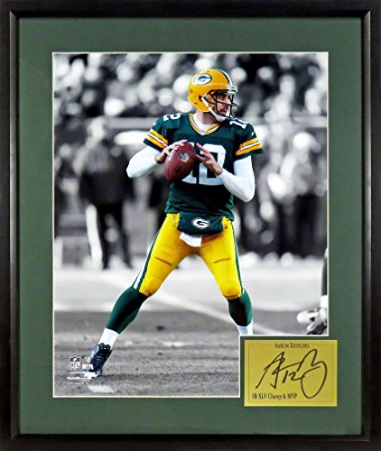 Green Bay Packers Aaron Rodgers Spotlight 11x14 Photograph (SGA Signature Engraved Plate Series) - Bay Draft Green Packers Nfl