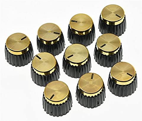 KAISH 10pcs Guitar AMP Amplifier Push on fit Knobs Black w/ Gold Cap for Marshall Amplifier