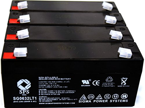 SPS Brand 6V 3.2Ah (Termina LT1) Replacement Battery fof McGaw 2001 INTELL Pump INFUSOR (1993 REV A2150 (4 Pack)