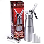 Professional Whipped Cream Dispenser Aluminum Cream Whipper, Durable Stainless Steel Coffee Spoon, 3 Decorating Nozzles, Charger Holder, Cleaning Brush and Instruction Manual Included - 1 Pint 9 USEFUL KITCHEN TOOL THAT MAKES YOUR LIFE EASIER! As someone who likes to indulge her loved ones, now with our chef quality 1-pint cream whipper, making delicious and gorgeous desserts is faster and easier than ever. DISPENSE BEAUTIFUL AND TASTY TOPPINGS FOR ANY DISH! We know that being able to pamper your loved ones is incredibly important to you. At Gorgeous Kitchen, we believe in premium materials, top performance, and perfection in design. We promise to only provide you with the best so next time you wonder what special dish you are going to prepare, the deciding will be that much easier. NIFTY GIFT BOX PACKAGING: This top-notch kitchen gadget comes in a nice gift box, which includes the cream whipper, 3 decorating nozzles, a charger holder, a stainless steel spoon, a cleaning brush, and an instruction bulletin. This makes a fantastic holiday or wedding gift!