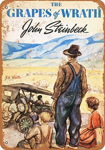 Guadalupe Ross Metal Tin Sign New 1939 The Grapes of Wrath First Edition Wall Plaque for Wall Decor Metal Sign 12x8 Inches