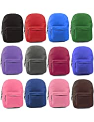 Wholesale 17 Backpacks In 12 Solid Colors - Case of 24
