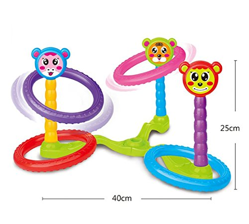 Night Lions Tech Big Size Large 16 Inch Portable Carrying Cartoon Scoring Quoits Ring Toss Target Game Toys For Kids  Toddlers  Children With 4 Rings 3 Pegs