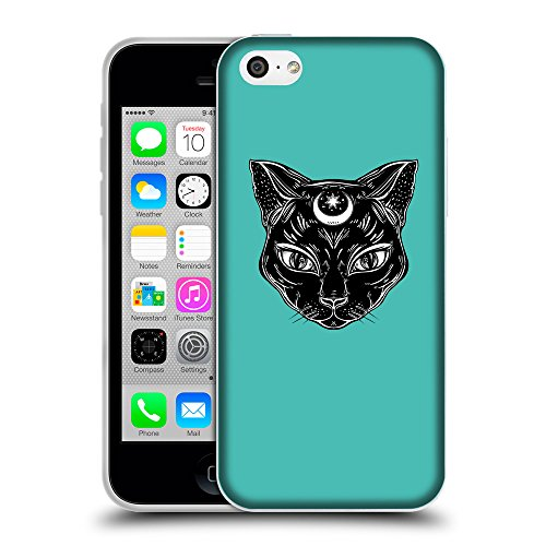 GoGoMobile Coque de Protection TPU Silicone Case pour // Q08210634 Lune chat 1 Turquoise // Apple iPhone 5C