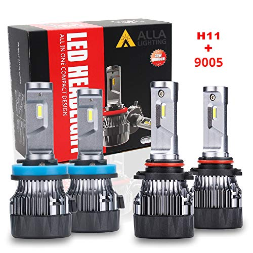 ALLA Lighting S-HCR HB3 9005 High Beam H9 H11 Low Beam LED Headlight Bulbs Combo Sets 10000Lms Extreme Super Bright 9005 H11 LED Headlight Bulbs Conversion Kits, Xenon White (4 Packs, 2 Sets)