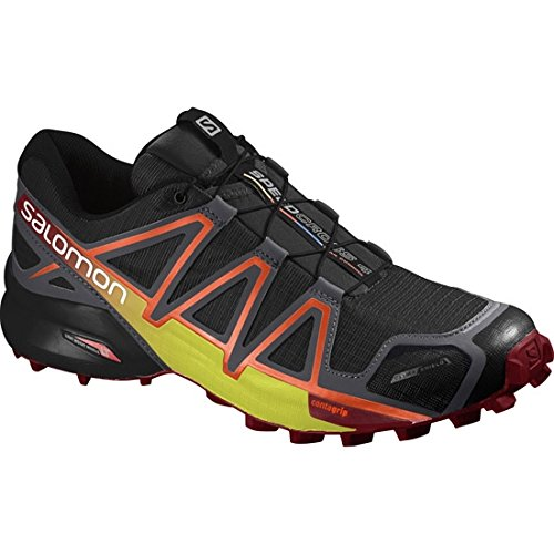 Salomon Speedcross 4 CS Trail Running Shoe - Men's Black/Magnet/Red Dalhia, US 10.0/UK 9.5